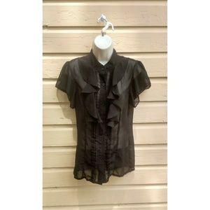 Norma Kamali Sheer Black Blouse Size M NWOTs